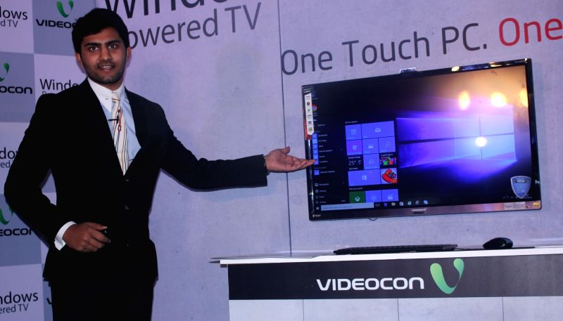 Videocon technology head Akshay Dhoot during the launch of Windows 10 powered LED TV in New Delhi on Oct 28, 2015.