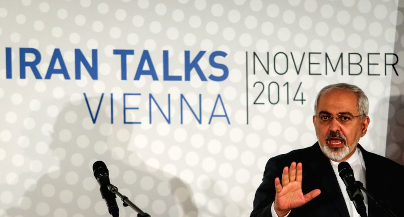 Vienna (Austria): Iranian Foreign Minister Mohammad Javad Zarif attends a press conference in Vienna, Austria, Nov. 24, 2014. The Iranian nuclear talks are likely to be extended to July 1, a source ..