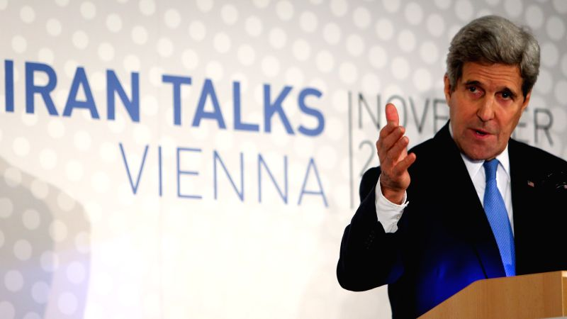 Vienna (Austria): U.S. Secretary of State John Kerry attends a press conference in Vienna, Austria, Nov. 24, 2014. Sides will meet again in December to discuss the tough Iranian nuclear issue, and ...