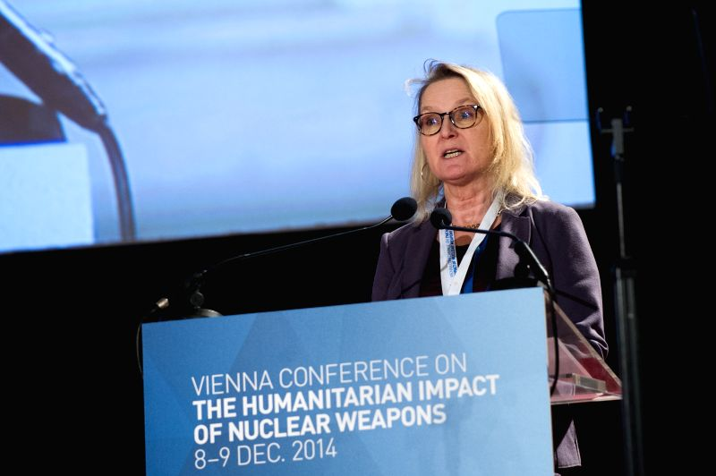 Vienna : Dr. Gro Nystuen, senior partner at International Law and Policy Institute, speaks at the Vienna Conference on the Humanitarian Impact of Nuclear Weapons held in Vienna, capital of Austria, ..
