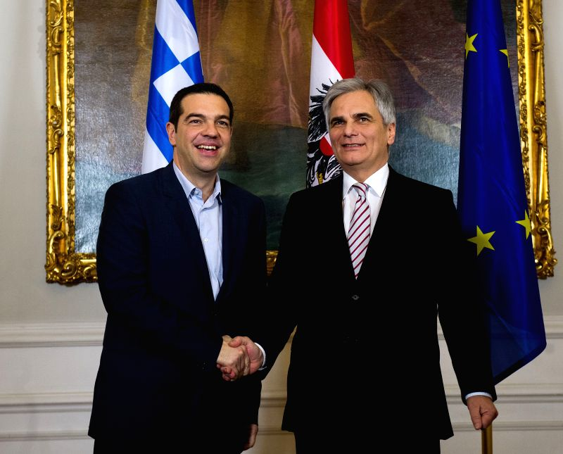 Austrian Chancellor Werner Faymann (R) meets with Greek Prime Minister Alexis Tsipras in Vienna, Austria, Feb. 9, 2015. - Alexis Tsipras
