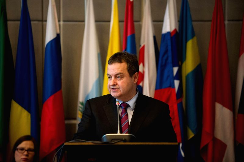 OSCE Chairperson-in-Office and Serbian Foreign Minister Ivica Dacic speaks during the OSCE Parliamentary Assembly's 2015 Winter Meeting in Vienna, Austria, Feb. 19, ... - Ivica Dacic