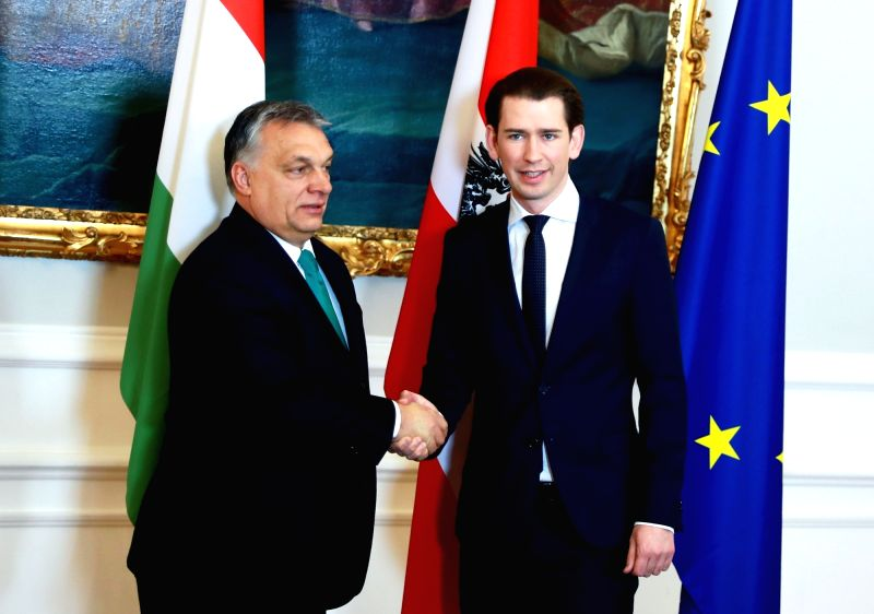 VIENNA, Jan. 30, 2018 - Austrian Chancellor Sebastian Kurz (R) shakes hands with Hungarian Prime Minister Viktor Orban during their meeting in Vienna, Austria, on Jan. 30, 2018. Austrian Chancellor ... - Viktor Orban