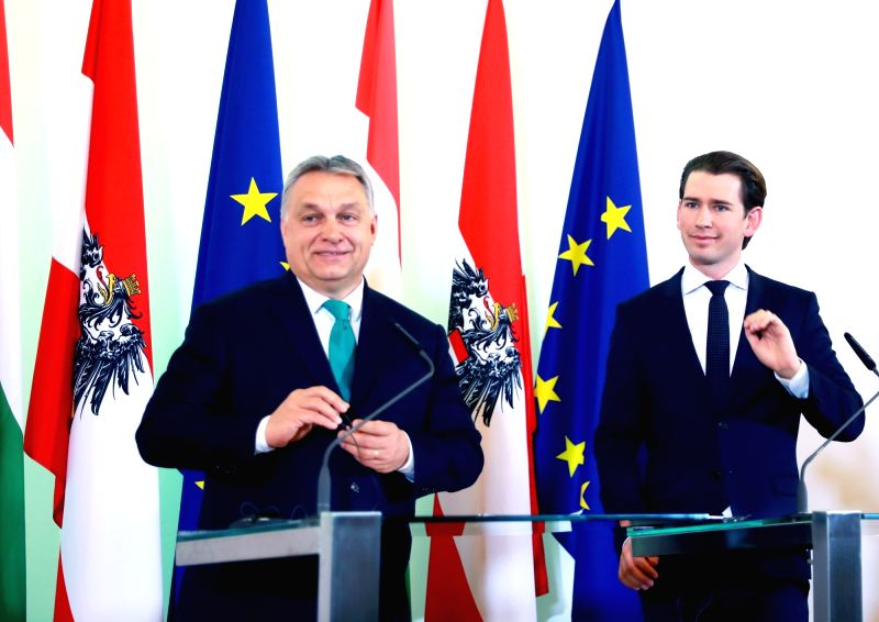 VIENNA, Jan. 30, 2018 - Austrian Chancellor Sebastian Kurz (R) and Hungarian Prime Minister Viktor Orban attend a press conference in Vienna, Austria, on Jan. 30, 2018. Austrian Chancellor Sebastian ... - Viktor Orban
