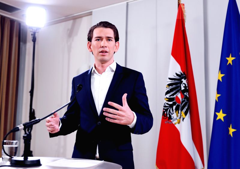 VIENNA, May 14, 2017 - Austria's Foreign Minister Sebastian Kurz addresses a news conference after a meeting of Austrian people's party (OVP) in Vienna, capital of Austria, on May 14, 2017. Austria's ... - Sebastian Kurz