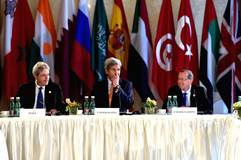 VIENNA, May 16, 2016 - U.S. Secretary of State John Kerry (C) attends a conference on the issue of the Islamic State (IS) in Libya, in Vienna, capital of Austria, on May 16, 2016. Leading foreign ...