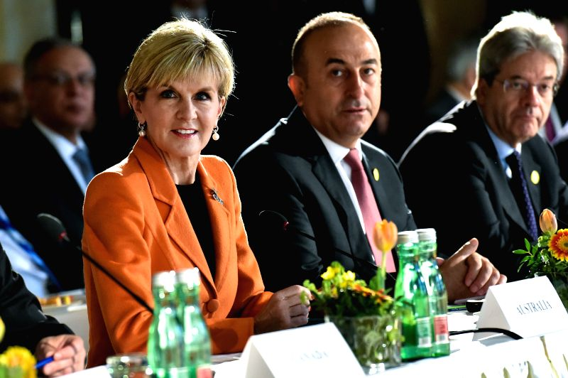 VIENNA, May 17, 2016 - Australian Foreign Minister Julie Bishop (1st L) attends a meeting of the International Syria Support Group on Syria in Vienna, Austria, May 17, 2016. - Julie Bishop