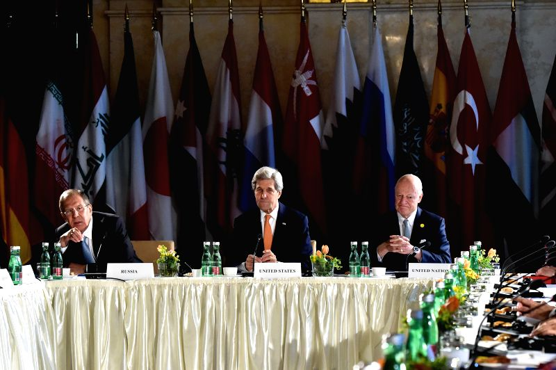 VIENNA, May 17, 2016 - (L to R) Russian Foreign Minister Sergei Lavrov, U.S. Secretary of State John Kerry and UN Special envoy for Syria Staffan de Mistura attend a meeting of the International ... - Sergei Lavrov