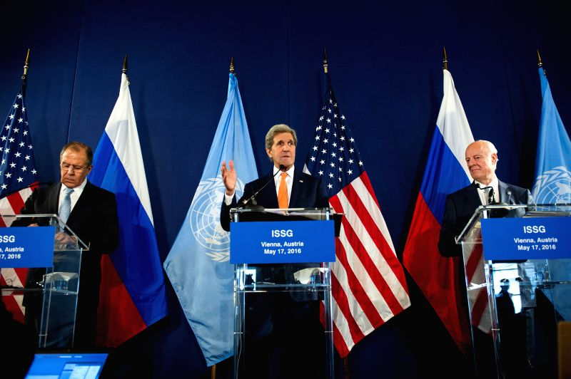 VIENNA, May 17, 2016 - Russian Foreign Minister Sergei Lavrov (L), U.S. Secretary of State John Kerry (C) and United Nations special envoy on Syria Staffan de Mistura  attend a press conference after ... - Sergei Lavrov