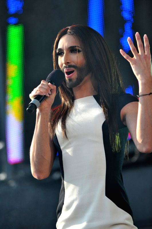 Austrian singer Conchita Wurst performs during a concert in Vienna, May 18, 2014. Wurst won the Eurovision Song Contest in Copenhagen on May 10, 2014. Photo: ...