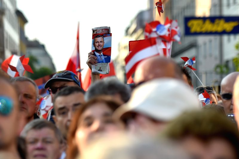 VIENNA, May 20, 2016 - Supporters of Norbert Hofer, candidate for presidential elections of Austria's Freedom Party, participate in the final election campaign event in Vienna, Austria, May 20, 2016.