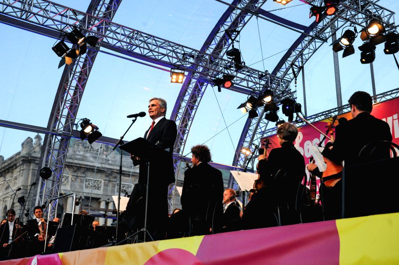 Photo: Austrian Chancellor Werner Faymann speaks at a ceremony to commemorate the 69th anniversary of the Allied Forces Victory in World War II in Vienna, May 8, 2014.