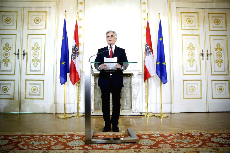 VIENNA, May 9, 2016 - Austrian Chancellor Werner Faymann delivers a brief statement in Vienna, Austria, May 9, 2016. Faymann on Monday announced his resignation, the Chancellery confirmed with Xinhua.