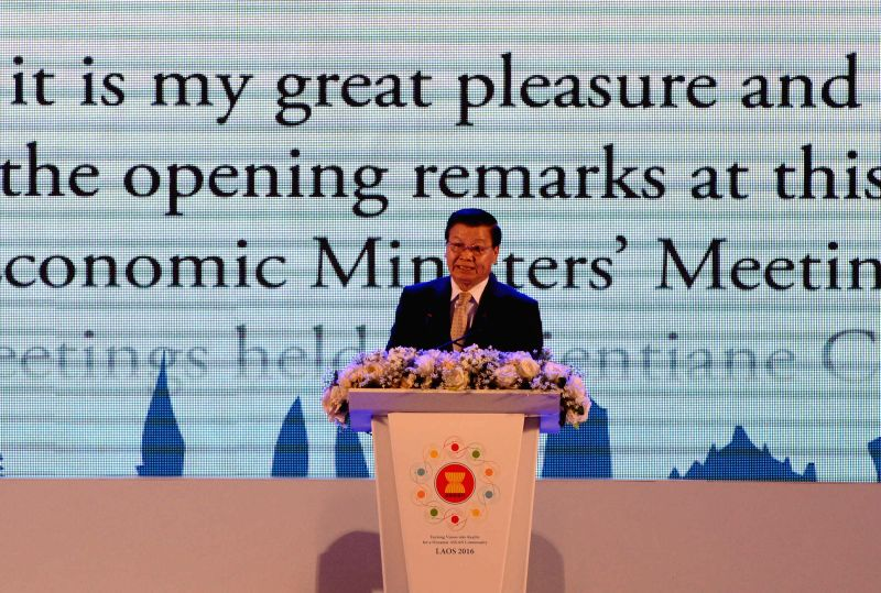 VIENTIANE, Aug. 3, 2016 - Lao Prime Minister Thongloun Sisoulith addresses the opening ceremony of the 48th ASEAN Economic Ministers Meeting (AEM) and related meetings held in Vientiane, Laos, Aug. ... - Thongloun Sisoulith and Meeting