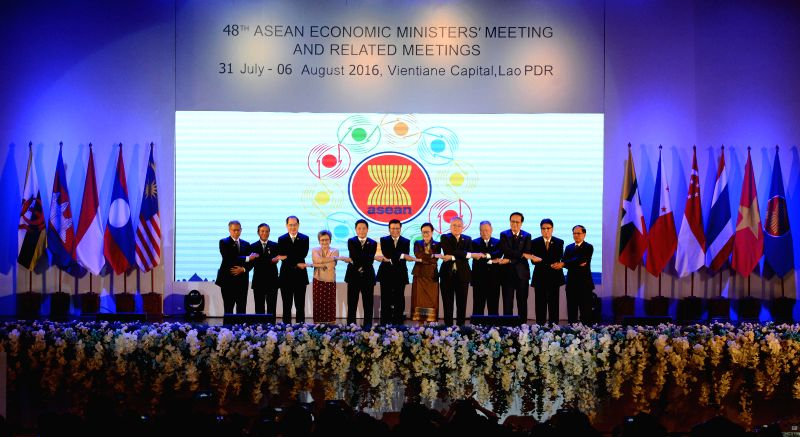 VIENTIANE, Aug. 3, 2016 - Photo taken on Aug. 3, 2016 shows a scene of the opening ceremony of the 48th ASEAN Economic Ministers' Meeting (AEM) in Vientiane, Laos. (Xinhua/Liu Ailun)