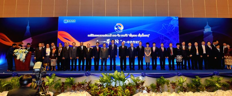 VIENTIANE, Feb. 2, 2018 - Honored guests attending Laos-China Belt and Road Cooperation Forum have group photos taken in Vientiane, Laos, on Feb. 2, 2018. Laos-China Belt and Road Cooperation Forum ...
