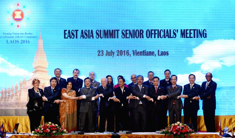 VIENTIANE, July 23, 2016 - Officials pose for group photos before the East Asia Summit Senior Officials' Meeting in Vientiane, capital of Laos, July 23, 2016.