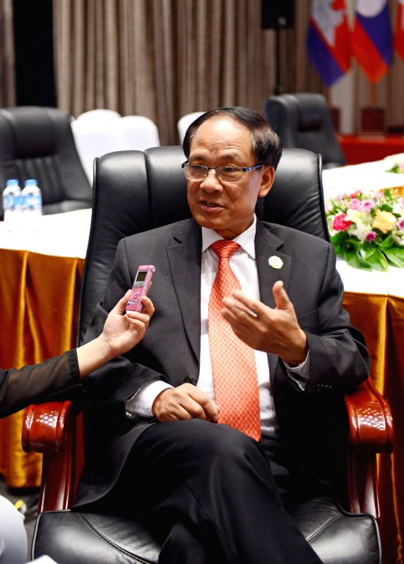 VIENTIANE, July 26, 2016 - Secretary-General of the Association of Southeast Asian Nations (ASEAN) Le Luong Minh receives an interview in Vientiane, Laos, July 25, 2016. Secretary-General of the ...