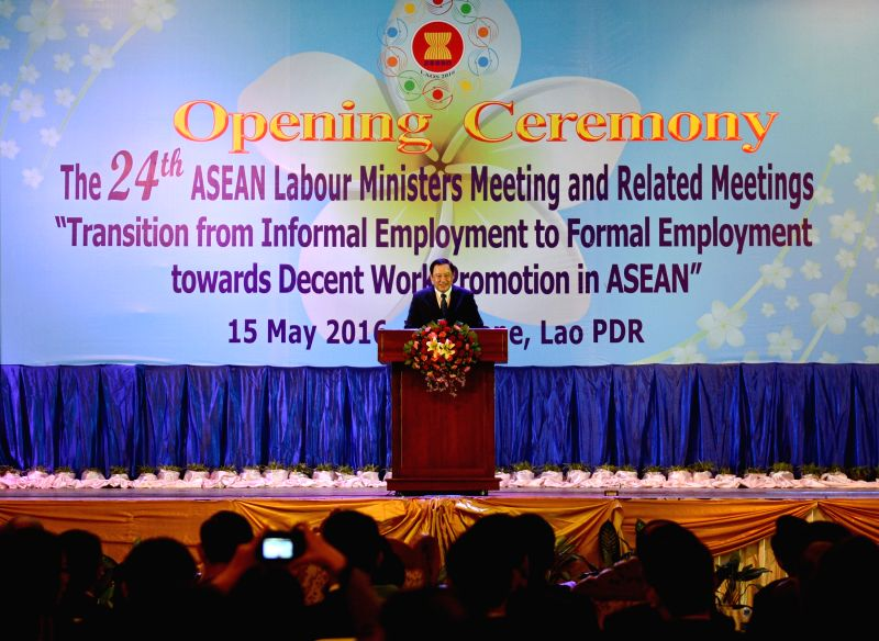 VIENTIANE, May 15, 2016 - Lao Deputy Prime Minister Sonexay Siphandone addresses ministers of labor and delegates at the opening of the 24th ASEAN Labour Ministers Meeting and related meetings in the ... - Sonexay Siphandone and Meeting