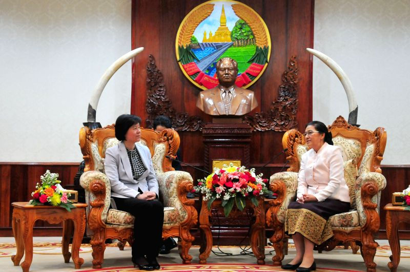 VIENTIANE, May 4, 2017 - Vice Chairperson of the Standing Committee of the National People's Congress of China and President of All-China Women's Federation Shen Yueyue (L) meets with President of ...