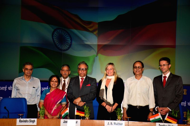 Vijay Laxmi Chabra of Doordarshan and Dorothee Ulrich of Deutsche Welle after signing a Memorandum of Understanding (MOU) between Prasar Bharati and Deutsche Welle the Public Broadcaster of Germany ..