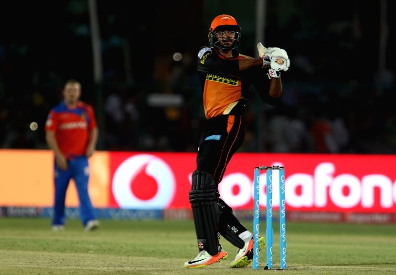 Vijay Shankar of Sunrisers Hyderabad in action during an IPL 2017 match between Gujarat Lions and Sunrisers Hyderabad at Green Park in Kanpur on May 13, 2017.