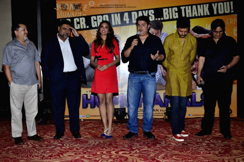 Vijay Singh, CEO, Fox Star Studios Pvt.Ltd, Bollywood actors Ram Kapoor, Esha Gupta, filmmaker Sajid Khan, actor Riteish Deshmukh and filmmaker Vashu Bhagnani during the success party of film ... - Riteish Deshmukh, Ram Kapoor, Esha Gupta, Vijay Singh and Sajid Khan