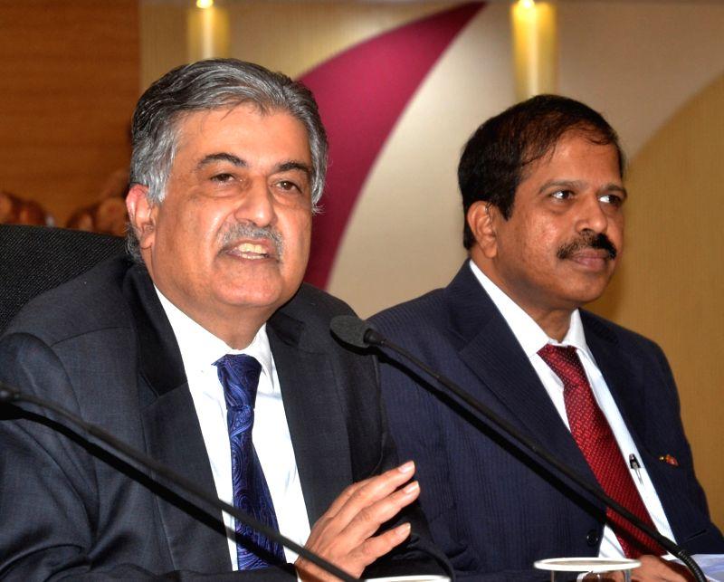 Vijaya Bank CEO Dr. Kishore Sansi addresses a press conference in Bengaluru on May 9, 2017. Also seen Vijaya Bank Executive Director Y Nageshwar Rao. - Y Nageshwar Rao