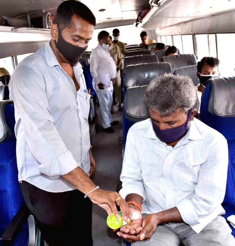 Vijayawada: Andhra Pradesh State Road Transport Corporation (APSRTC) resumes its operations on the fourth day of the fourth phase of the nationwide lockdown imposed to mitigate the spread of coronavirus on May 21, 2020.