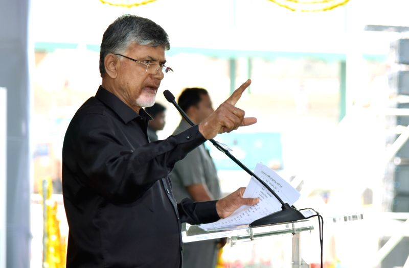 Vijaywada: Andhra Chief Minister N. Chandra Babu Naidu addresses a public meeting wearing a black shirt to protest against centre's attitude towards the state, in Vijaywada on Feb 10, 2019.