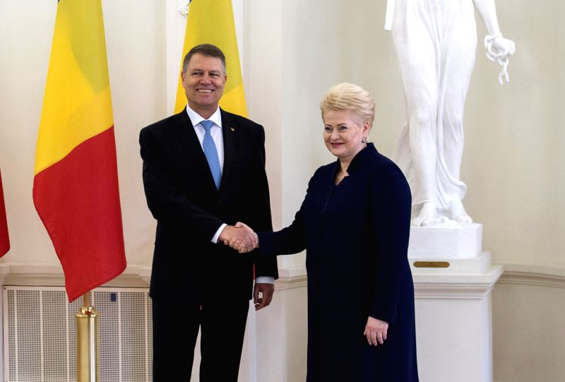 VILNIUS, May 18, 2016 - Lithuanian President Dalia Grybauskaite (R) meets with Romanian President Klaus Iohannis in Vilnius, Lithuania, May 18, 2016. The two sides talked about regional security ...