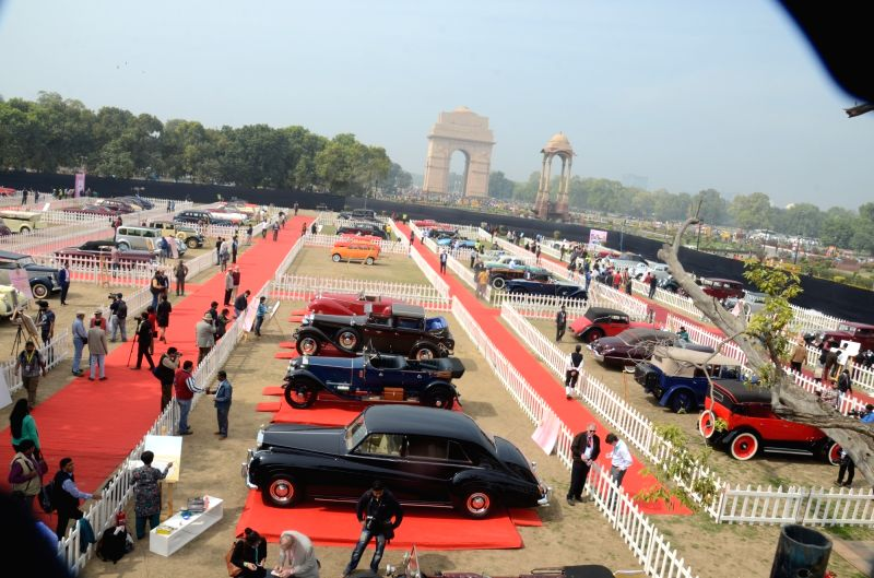 Vintage cars on display at 21 Gun Salute International Vintage Car Rally & Concours Show 2017 at India Gate in New Delhi on Feb. 17, 2017.