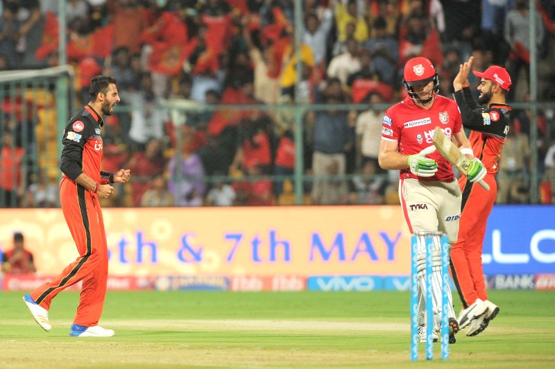 Virat Kohli and Aniket Choudhary of Royal Challengers Bangalore celebrate fall of Hashim Amla's wicket during an IPL 2017 match between Royal Challengers Bangalore and Kings XI Punjab at M ... - Virat Kohli and Aniket Choudhary
