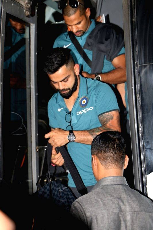 Virat Kohli and Shikhar Dhawan ​​ ​ depart for England for ICC Champions Trophy 2017 ​ from Mumbai​  on May 25, 2017. - Shikhar Dhawan and Virat Kohli