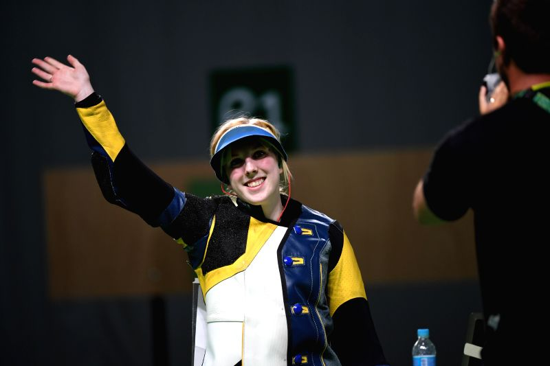 ?Virginia Thrasher of the United States waves to spectators after the Women's 10m Air Rifle of shooting of the 2016 Rio Olympic Games at the Olympic Shooting ...