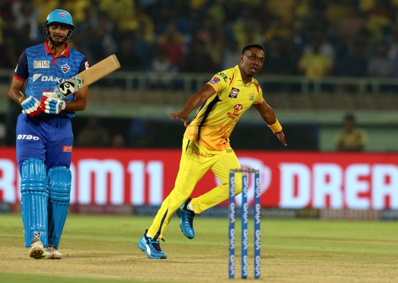 Visakhapatnam: Chennai Super Kings' Dwayne Bravo celebrates fall of Axar Patel's wicket during the 2nd Qualifier match of IPL 2019 between Chennai Super Kings and Delhi Capitals at Dr. Y.S. Rajasekhara Reddy Cricket Stadium in Visakhapatnam, on May 1