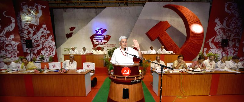 CPI-M general secretary Prakash Karat addresses during party`s national conference in Visakhapatnam, Andhra Pradesh on April 18, 2015.