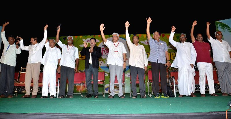 CPI-M leaders including party's general secretary Prakash Karat during the national conference of CPI-M in Visakhapatnam, Andhra Pradesh on April 14, 2015.