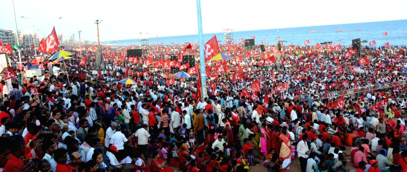 CPI-M workers participate in a party rally in Visakhapatnam on April 20, 2015.