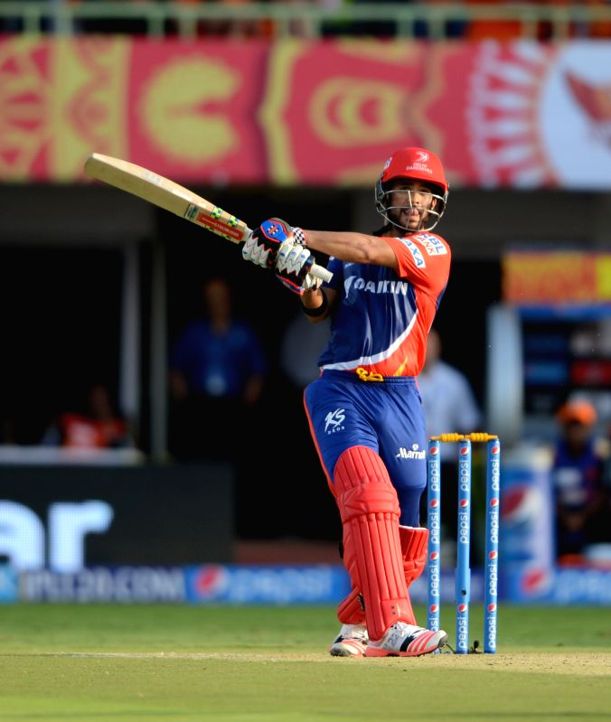 Delhi Daredevils captain Jean-Paul Duminy in action during an IPL-2015 match between Sunrisers Hyderabad and Delhi Daredevils at  Dr. Y.S. Rajasekhara Reddy ACA-VDCA Cricket Stadium, ... - Jean-Paul Duminy