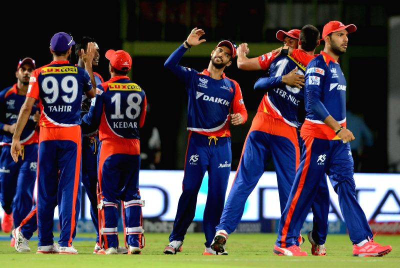 Delhi Daredevils celebrate after winning a match during an IPL-2015 match between Sunrisers Hyderabad and Delhi Daredevils at  Dr. Y.S. Rajasekhara Reddy ACA-VDCA Cricket Stadium, in ...