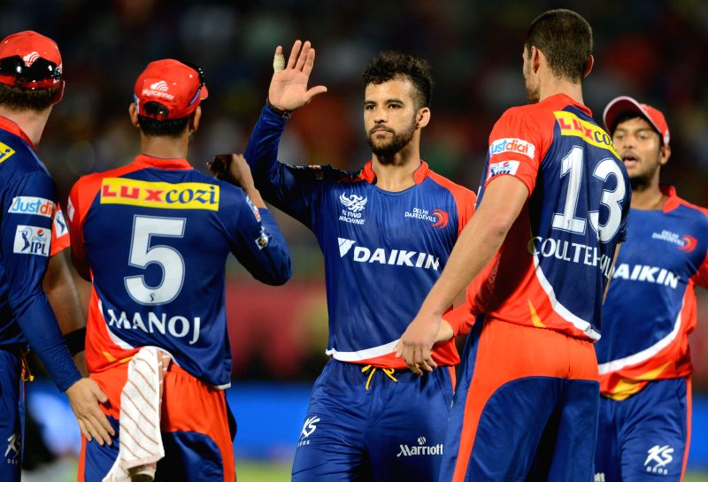 Delhi Daredevils celebrate fall of a wicket during an IPL-2015 match between Sunrisers Hyderabad and Delhi Daredevils at  Dr. Y.S. Rajasekhara Reddy ACA-VDCA Cricket Stadium, in ...
