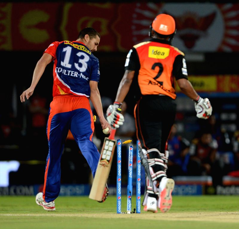 Delhi Daredevils player Nathan Coulter-Nile race back to the stumps and completes the run out of Ashish Reddy during an IPL-2015 match between Sunrisers Hyderabad and Delhi Daredevils ... - Ashish Reddy