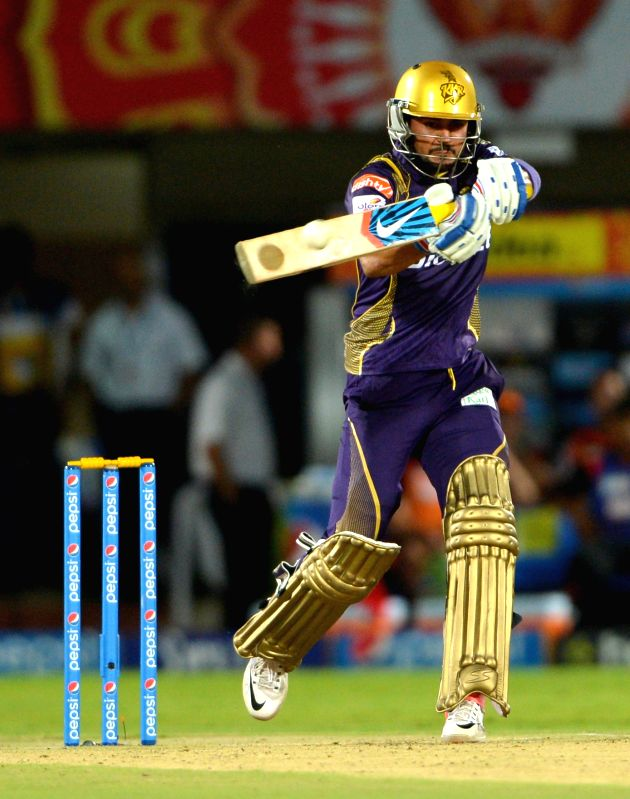 Kolkata Knight Riders batsman Manish Pandey in action during an IPL-2015 match between Sunrisers Hyderabad and Kolkata Knight Riders at Dr. Y.S. Rajasekhara Reddy ACA-VDCA Cricket ... - Manish Pandey