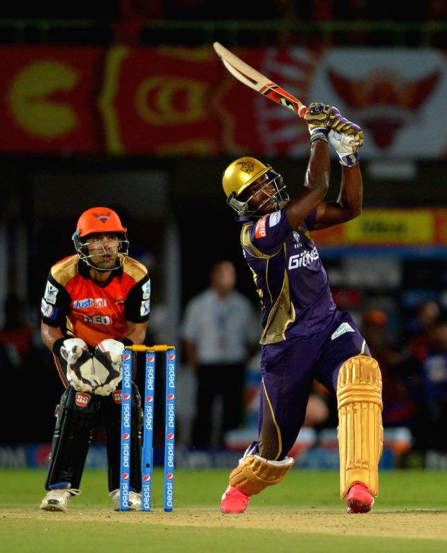 Kolkata Knight Riders batsman Andre Russell in action during an IPL-2015 match between Sunrisers Hyderabad and Kolkata Knight Riders at Dr. Y.S. Rajasekhara Reddy ACA-VDCA Cricket ... - Andre Russell