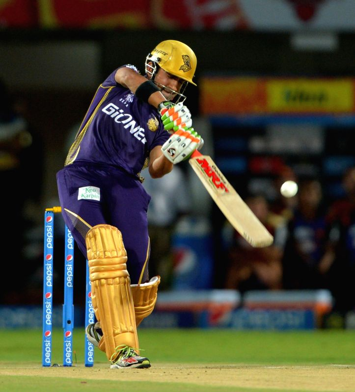 Kolkata Knight Riders captain Gautam Gambhir in action during an IPL-2015 match between Sunrisers Hyderabad and Kolkata Knight Riders at Dr. Y.S. Rajasekhara Reddy ACA-VDCA Cricket ... - Gautam Gambhir