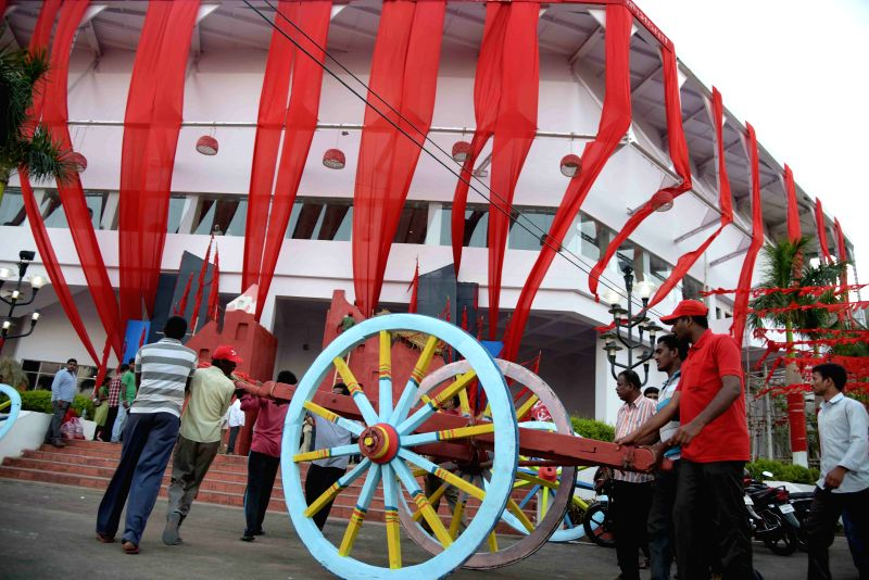 Preparations for the CPI(M) National Conference underway in Visakhapatnam, on April 13, 2015.