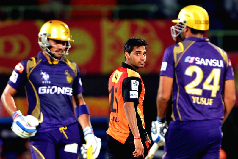 Sunrisers Hyderabad player Bhuvneshwar Kumar during an IPL-2015 match between Sunrisers Hyderabad and Kolkata Knight Riders at Dr. Y.S. Rajasekhara Reddy ACA-VDCA Cricket Stadium, in ... - Bhuvneshwar Kumar
