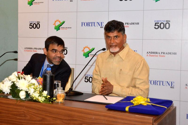 Andhra Pradesh Chief Minister N. Chandrababu Naidu addresses press in Vishakahapattanam on Dec 17, 2014. - N. Chandrababu Naidu