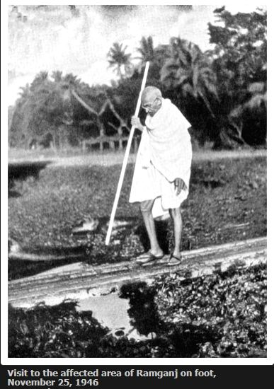 Visit to the affected area of Ramganj on foot, November 25, 1946. (Photo Courtesy: mkgandhi. org)